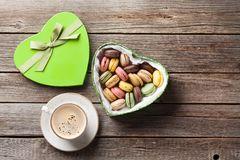 Macaroons in Valentines day gift box and coffee Royalty Free Stock Photography