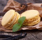 Macaroons with vanilla beans Royalty Free Stock Image