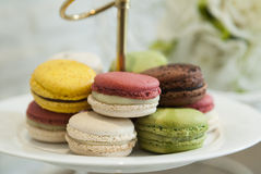 Macaroons variety. A french sweet delicacy, macaroons variety closeup Stock Images