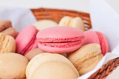 Macaroons with various fruit fillings Royalty Free Stock Image