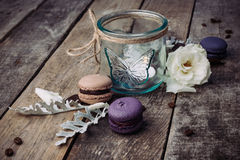 Macaroons on vintage background. Different kinds of macaroons. Food photo. Vintage background royalty free stock photos