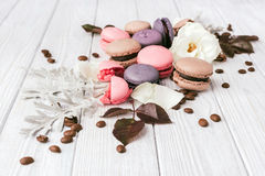 Macaroons on vintage background. Different kinds of macaroons. Food photo. Vintage background stock photography