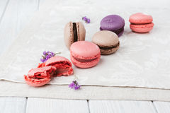 Macaroons on vintage background. Different kinds of macaroons. Food photo. Vintage background royalty free stock image