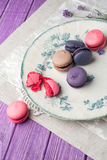 Macaroons on vintage background. Different kinds of macaroons. Food photo. Vintage background stock photos
