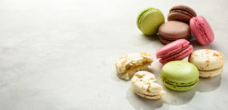 Macaroоns  on a white background. Copy space. Stock Image