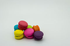 Macaroons on white background. Seven macaroons on white background royalty free stock photos