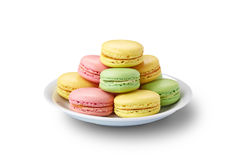 Macaroons on white plate Royalty Free Stock Photos