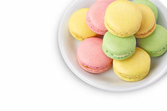 Macaroons on white plate Royalty Free Stock Images