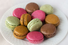 Macaroons on white plate Royalty Free Stock Photo