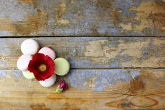 Macaroons on a wooden background. Top view Stock Photography