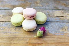 Macaroons on a wooden background Stock Photo