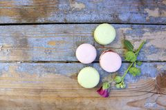 Macaroons on a wooden background Royalty Free Stock Photography