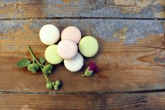 Macaroons on a wooden background Royalty Free Stock Image