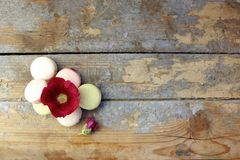 Macaroons on a wooden background Royalty Free Stock Photos