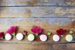 Macaroons on a wooden background Stock Images