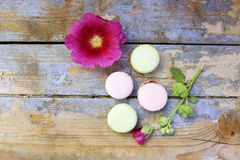 Macaroons on a wooden background Royalty Free Stock Images