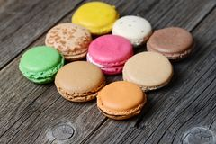 Macaroons. On the wooden table stock images