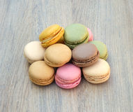 Macaroons. On a wooden table Royalty Free Stock Photography