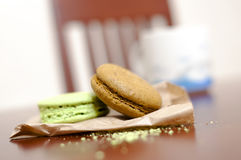 Macaroons on wooden table Royalty Free Stock Photos