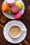 Macaroons on the wooden table Stock Photo