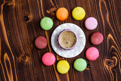 Macaroons on the wooden table Stock Image