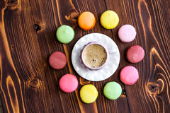 Macaroons on the wooden table Royalty Free Stock Photo