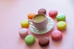 Macaroons on the wooden table Royalty Free Stock Images