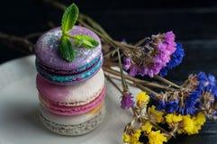 Macaroons z kwiatami Zamyka w górę macaroons Fotografia Royalty Free