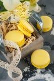 Macarrones amarillos con los cordones y la flor del lirio Fotos de archivo libres de regalías
