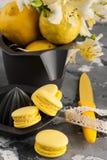 Macarrones amarillos con los cordones y la flor del lirio Fotografía de archivo