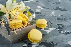 Macarrones amarillos con los cordones y la flor del lirio Imagen de archivo