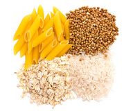 Macarrones, arroz, alforfón y harina de avena Fotografía de archivo libre de regalías