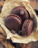 Macarrones con el chocolate foto de archivo libre de regalías