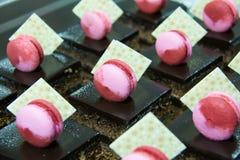 Macarrones del top de la torta de chocolate del brownie fotografía de archivo libre de regalías