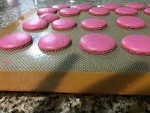 Macarrones rosados del canela Imagenes de archivo