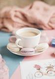 Macarrones suaves dulces en la placa Imágenes de archivo libres de regalías