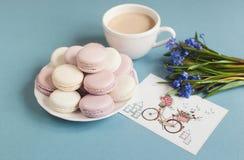 Macarrones suaves dulces en la placa Foto de archivo libre de regalías