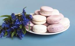 Macarrones suaves dulces en la placa Fotos de archivo