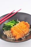 Macarronete asiático do frito da carne de porco Foto de Stock