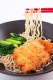 Macarronete asiático do frito da carne de porco Imagem de Stock Royalty Free