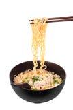 Macarronete imediato chinês com carne de porco triturada Foto de Stock