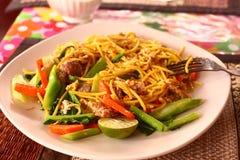 Macarronete picante tailandês com vegetais e galinha fotos de stock royalty free