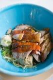 Macarronetes com carne de porco e pato Foto de Stock Royalty Free