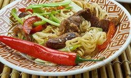 Macarronetes da carne de Szechuan Imagem de Stock Royalty Free