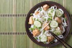 Macarronetes de arroz japoneses com opinião superior da galinha e dos pepinos Foto de Stock Royalty Free