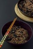 Macarronetes de Soba com cogumelos Fotos de Stock Royalty Free