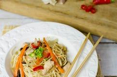 Macarronetes do mein da comida com galinha, cogumelos, cenouras e cebolas Imagens de Stock Royalty Free