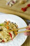 Macarronetes do mein da comida com galinha, cogumelos, cenouras e cebolas Fotos de Stock