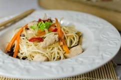 Macarronetes do mein da comida com galinha, cogumelos, cenouras e cebolas Foto de Stock Royalty Free