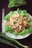 Macarronetes finos ateados fogo com molho de soja da carne de porco, culinária tailandesa deliciosa Fotografia de Stock